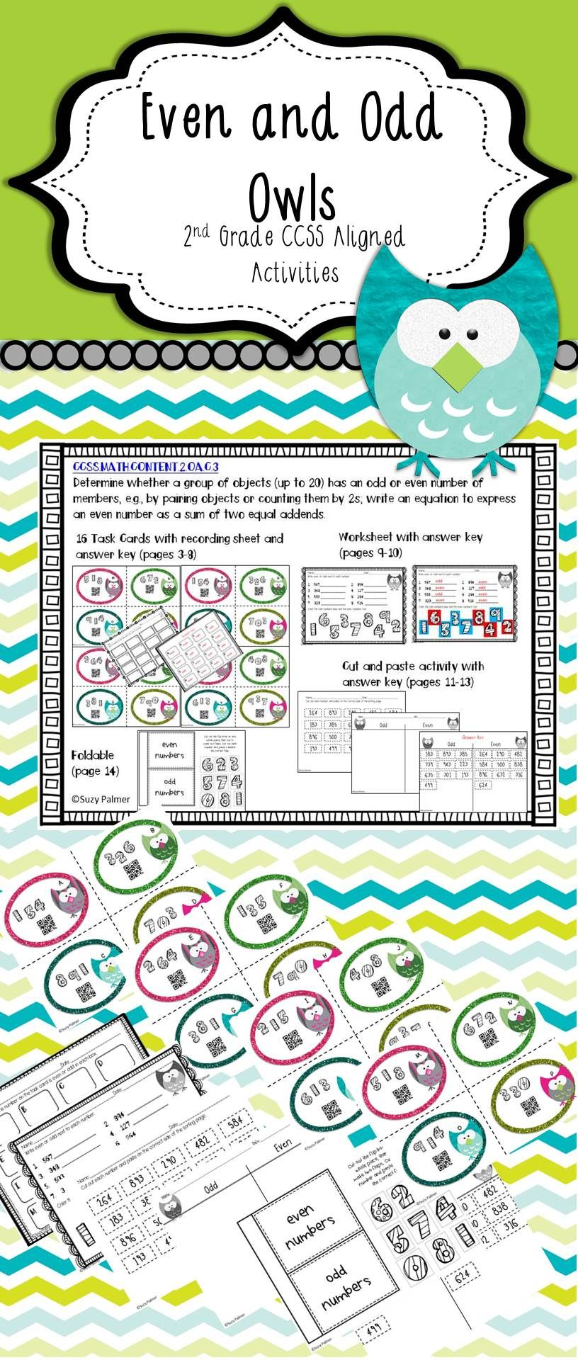 Even and odd owls 2nd ccss activities flap book even