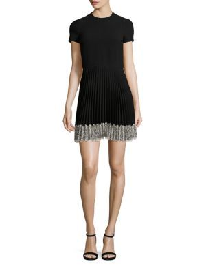 lace trim pleated dress - Black Red Valentino Outlet Pay With Paypal Clearance Cheap Cheap Sale Huge Surprise Low Price Cheap Online hcaEd9I