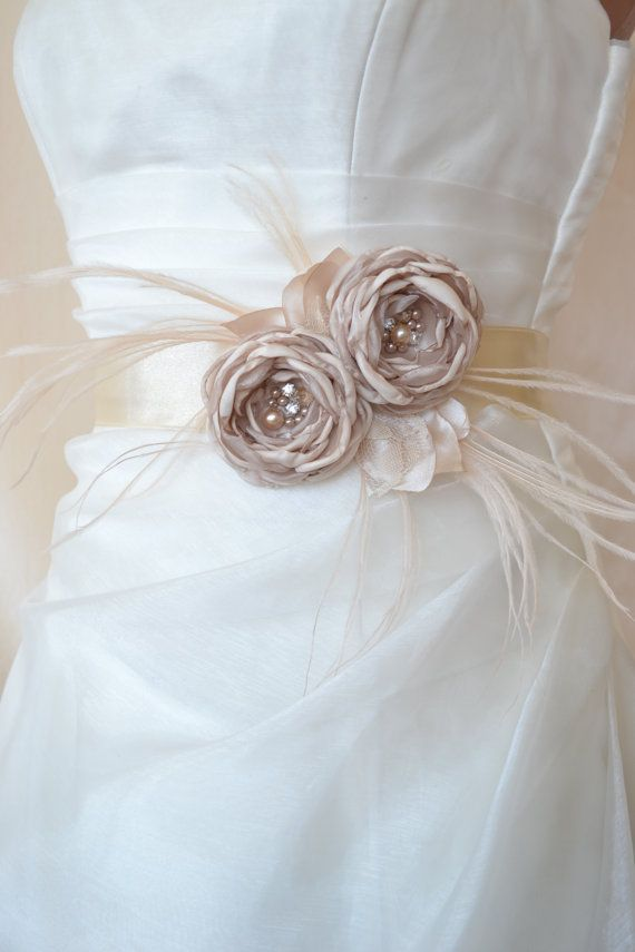 Beautiful Handcrafted Champagne Two Flowers Wedding Dress Bridal Sash Belt Bridal Accessories Wedding Dresses With Flowers Wedding Accessories