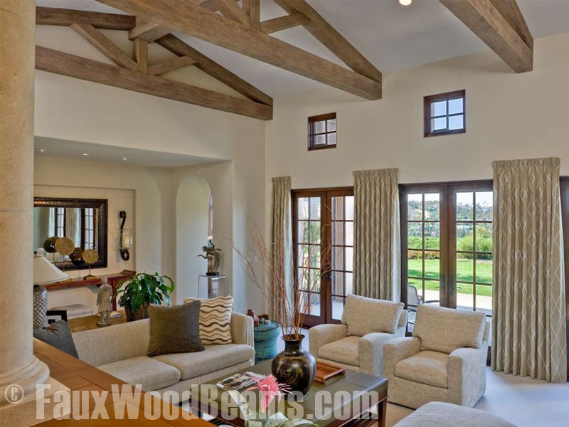 Wood Trusses Straight Or Arched Trusses Design Possibilities Faux Wood Beams High Ceiling Living Room