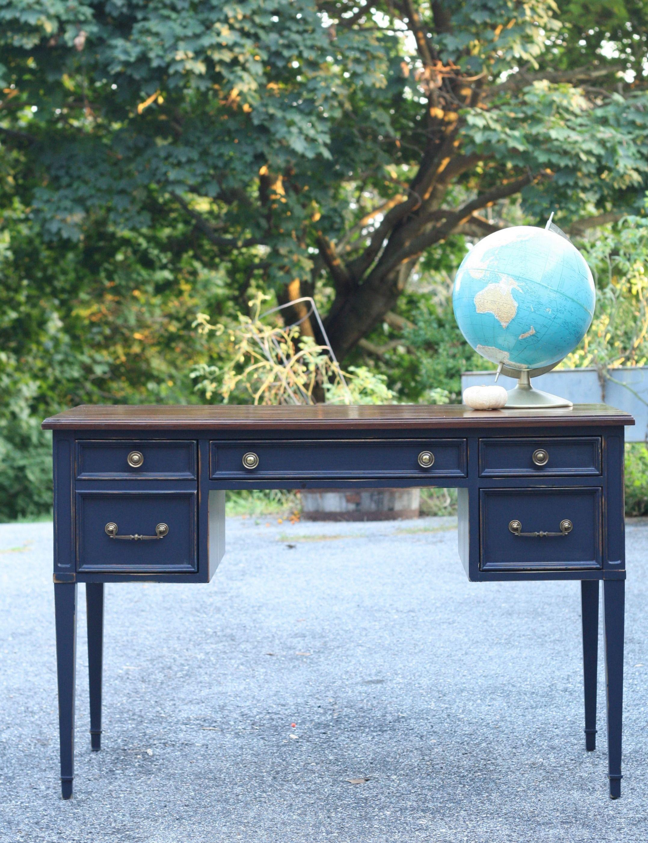 Coastal Blue Desk With Java Gel Top Primitive And Proper