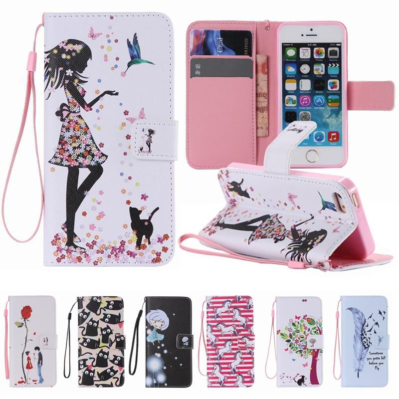Cute Cat Girls wallet Cover For Coque iPhone 5S Case Leather ...