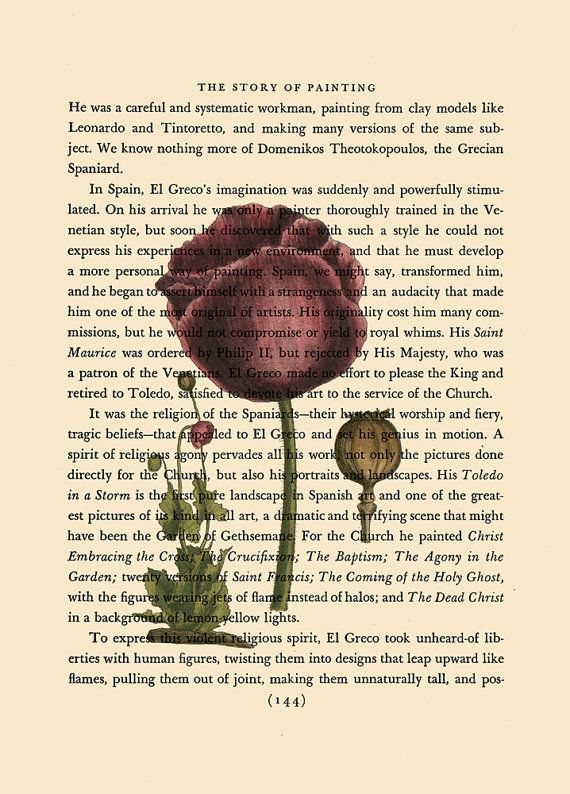 Poppy Flower on vintage book page
