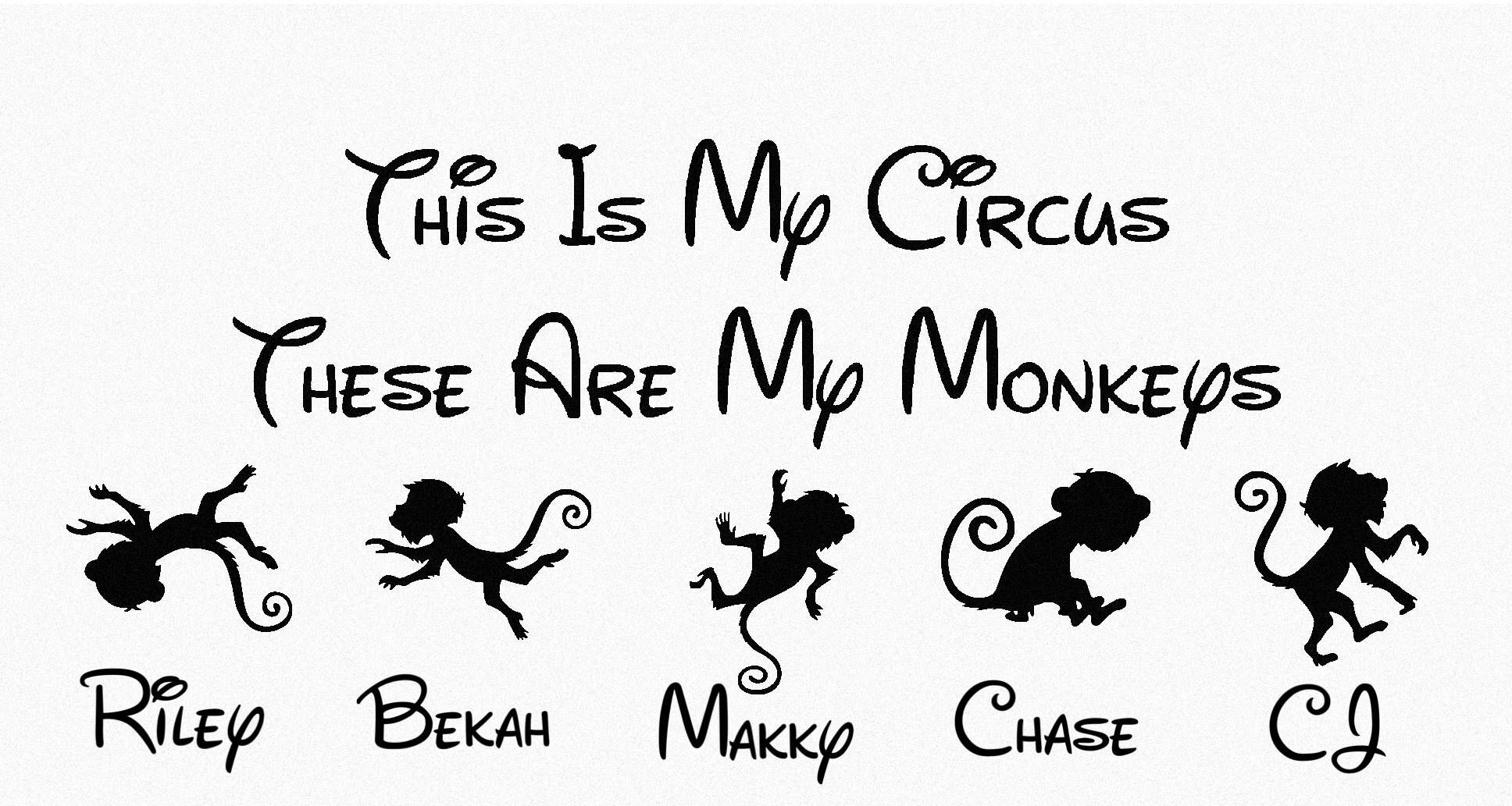 This Is My Circus These Are My Monkeys Personalized Decal Etsy Personalized Decals Vinyl Decals Family Decals [ 1033 x 1936 Pixel ]