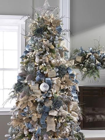 Silver Grey Velvet Bows And Gold Garland Decorations Silver Christmas Tree Flocked Christmas Trees Blue Christmas Tree
