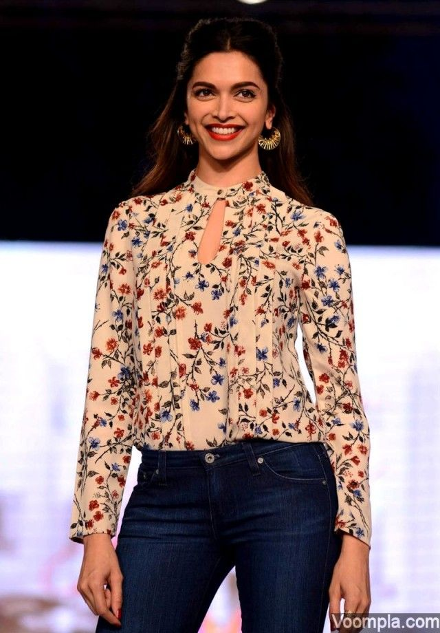 Deepika padukone turns showstopper for all about you fashion label deepika padukone all about you style floral top wide leg jeans voltagebd Gallery