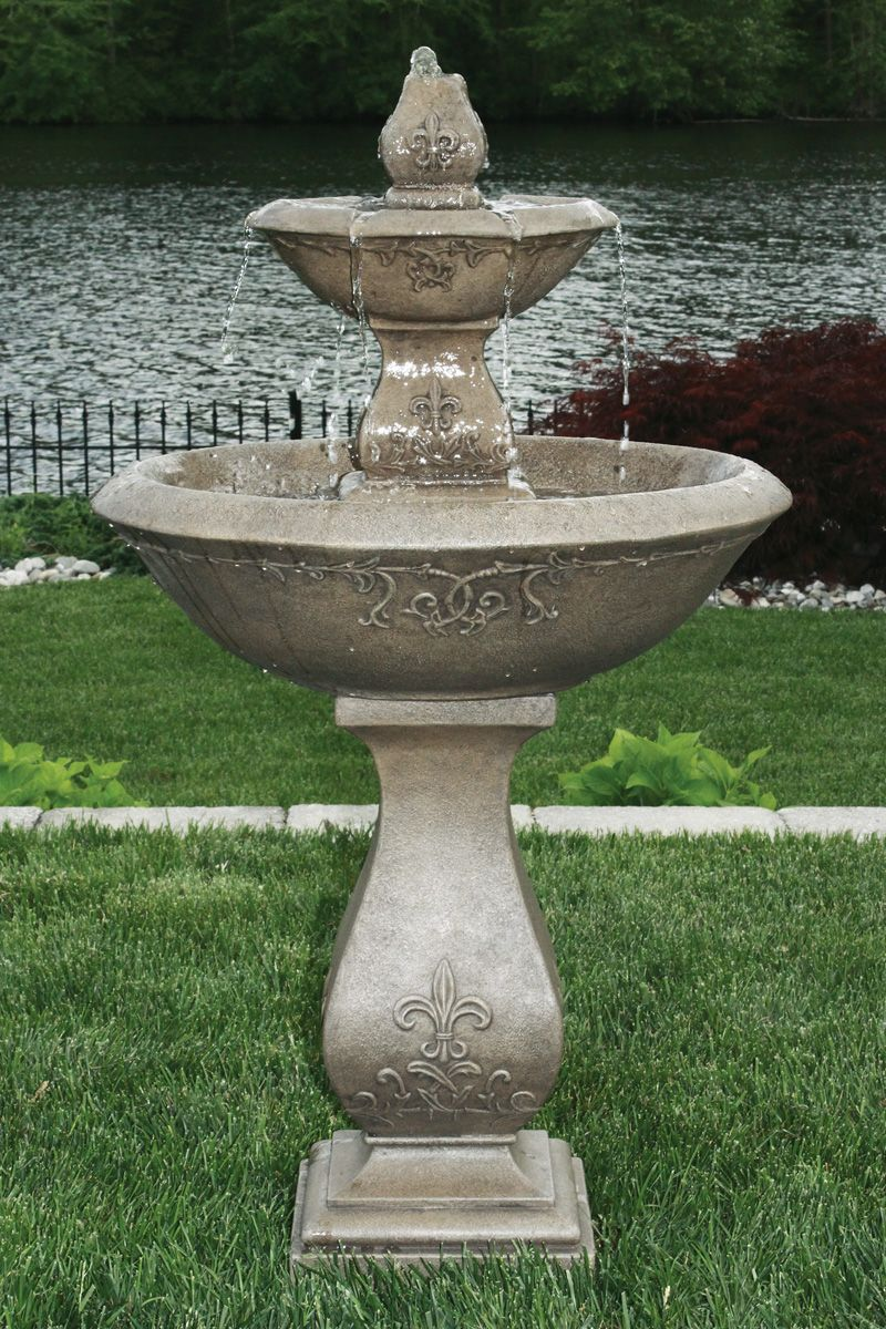 Two Tier Cast Stone Fountain Shown In Classic Iron H 47 W 20 5 Base Width 9 5 Base Length 11 25 161 Lbs 405 Please Call For Shipping Quote T Stone Water Features