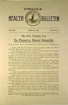 Racial Integrity Act Of 1924 Racial Virginia Law History Facts