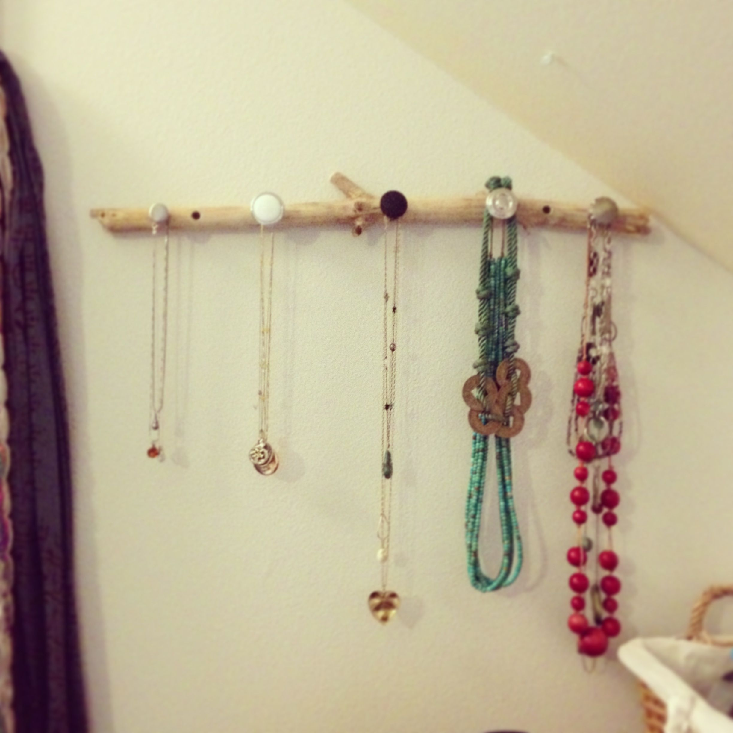 DIY jewelry hangernecklace holder repurposed tree branch and