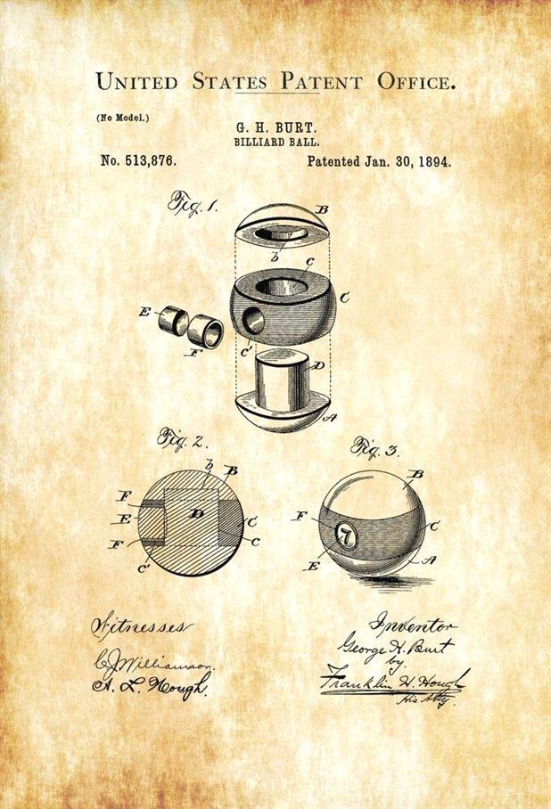 Billiard Ball Patent 1894 – Patent Print, Wall Decor, Pool Table ...