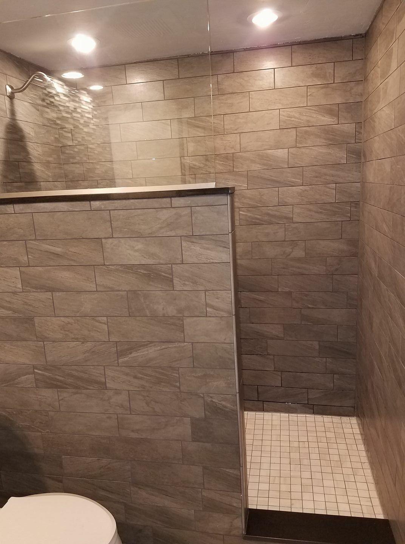 Tiled Bathroom Remodel Large Walk In Shower Half Wall Half Glass Small Bathroom Tiles Shower Remodel Bathroom Remodel Shower