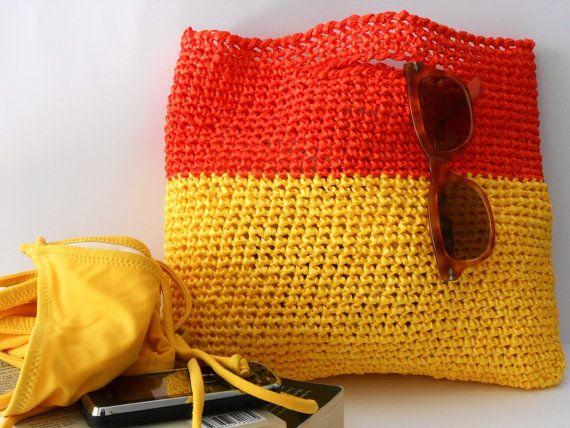 Crochet Purse Crochet Handbag Block Colors Brilliant Orange And