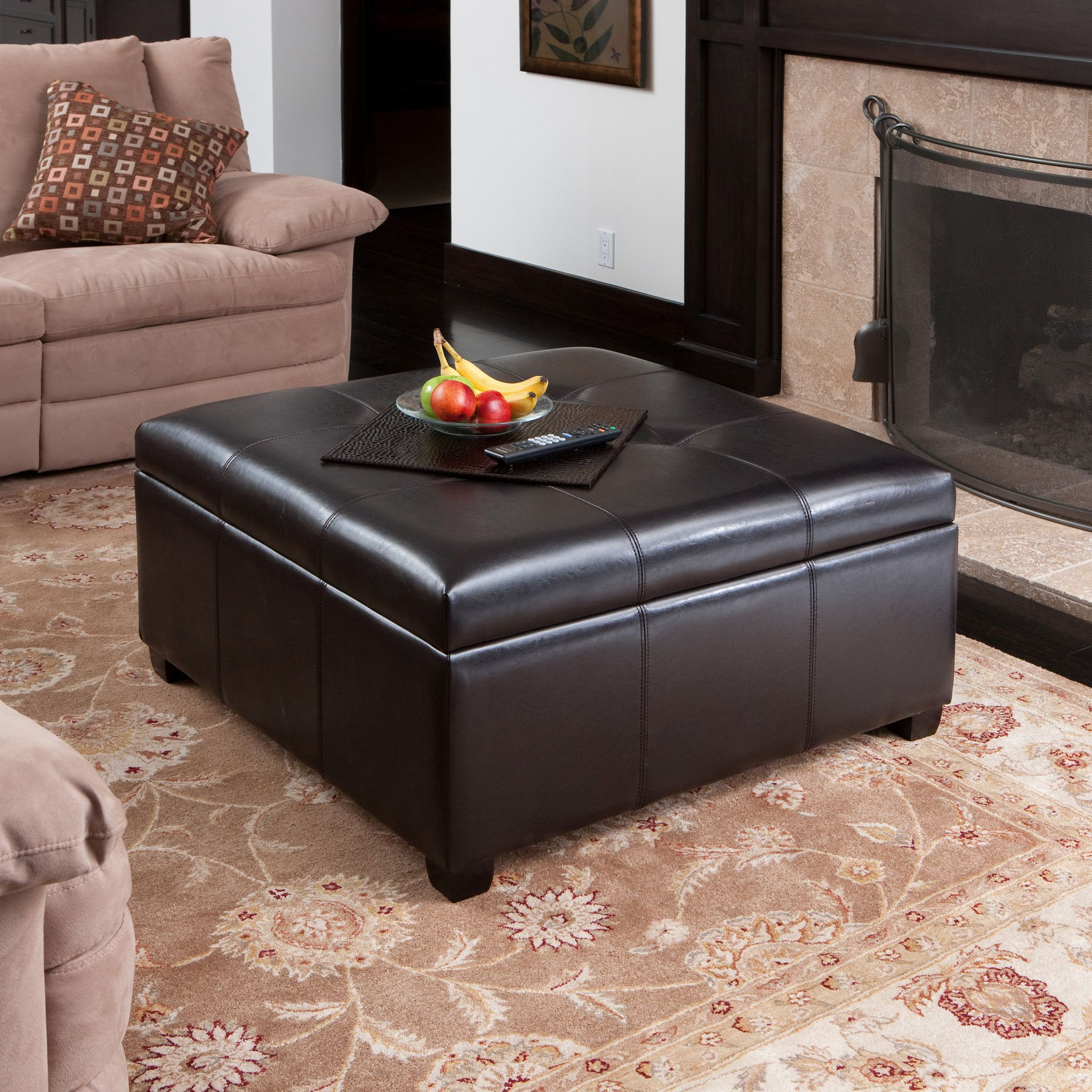 Patsy espresso tufted leather storage ottoman apartment living