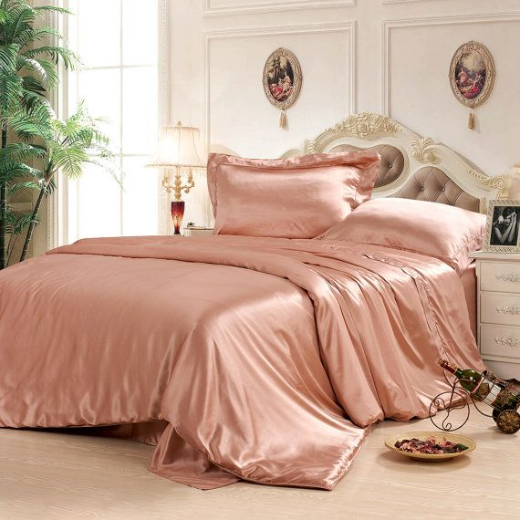 Dusty Rose 5pcs Silk Duvet Cover Bedding Set Hand Crafted Romantic Bedding Duvet Cover Set Twin Full Rose Gold Bedroom Pink Bedroom Decor Rose Gold Bed