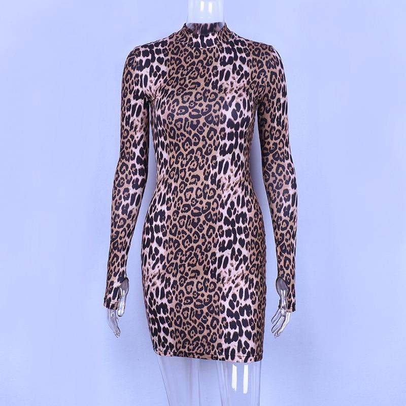 47ed3ca6e4f Hugcitar long sleeve high neck leopard print dresses 2018 autumn winter  women fahsion high waist Christmas party dresses
