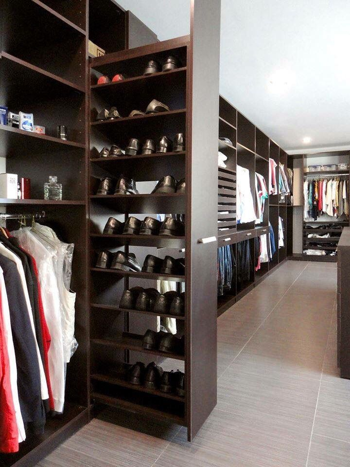 Walk In Closet Shoe Storage Room For Two Dark Wood And Accents