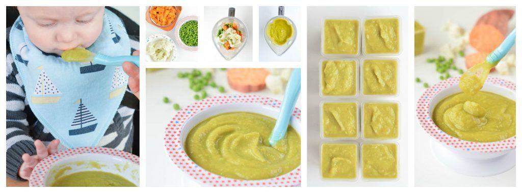 Sweet Potato Puree Baby Recipe With Pea And Cauliflower An