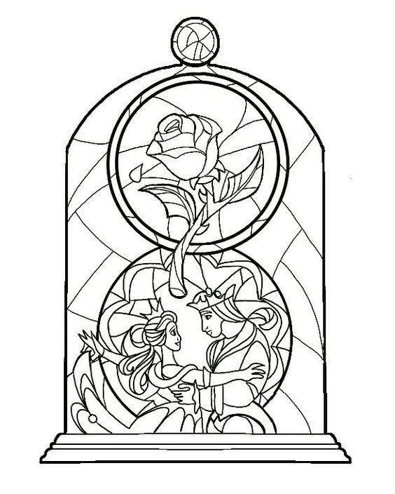 Coloring Page Disney Stained Glass