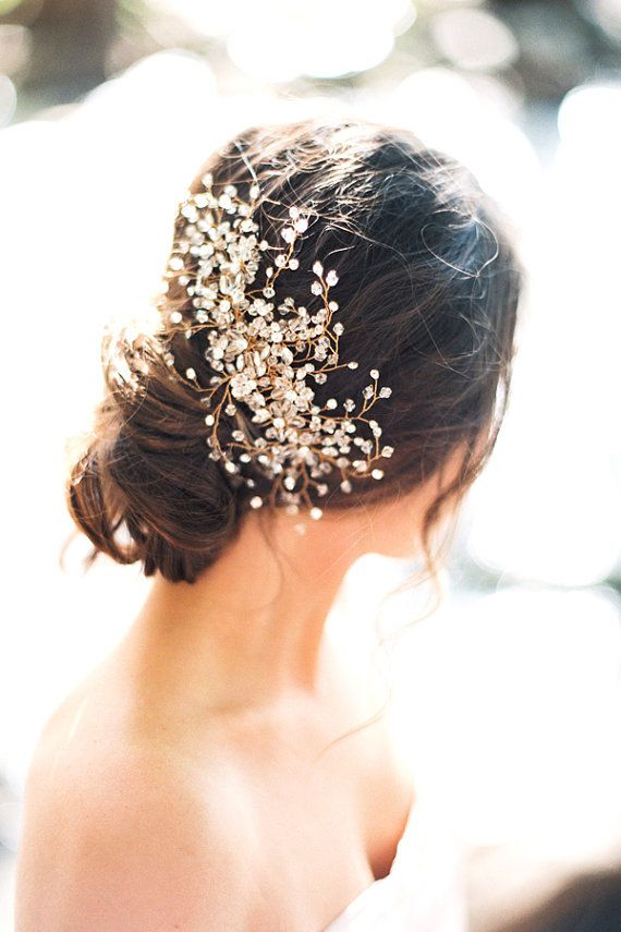 Gorgeous wedding updo with a crystal bridal headpiece