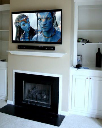 Flat Screen Tv Over Fireplace Designs Convenient Evening And