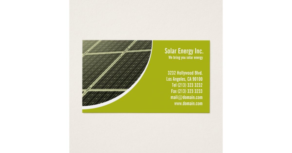 Solar Panel Green Energy Business Card | Business cards, Solar and ...