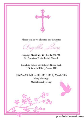 Christening Invitation Templates for Baby Boy and Girl | Party ...