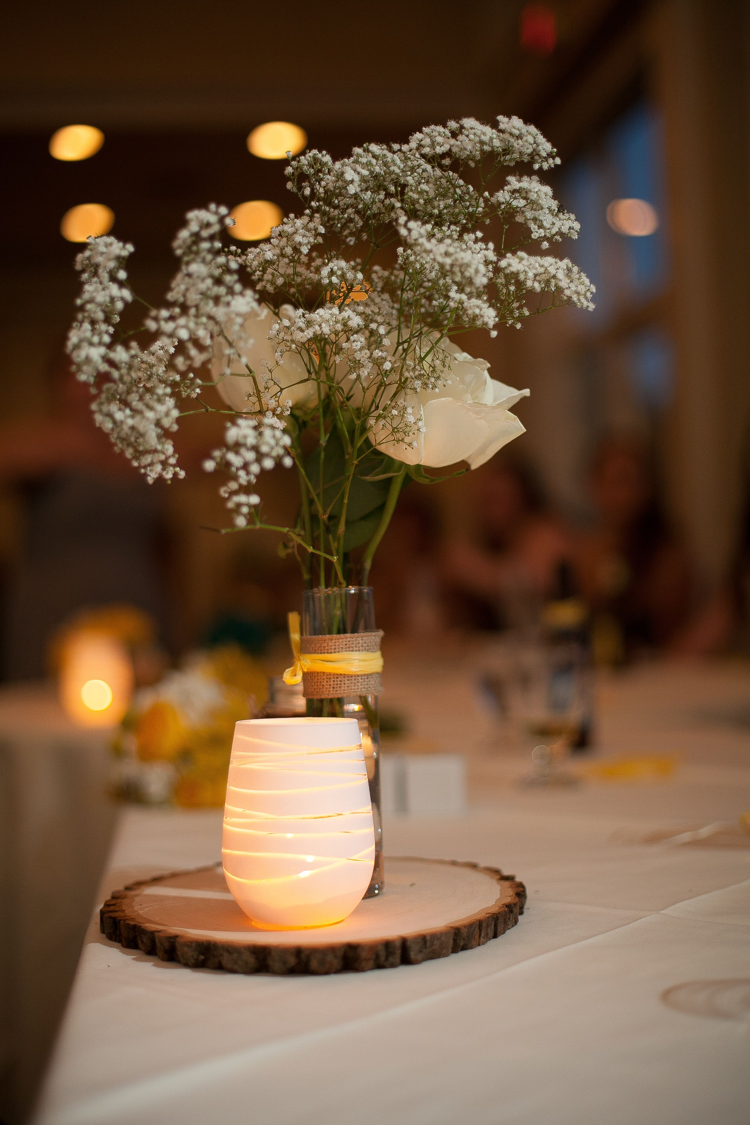 Head table centerpiece yellow and grey wedding wood