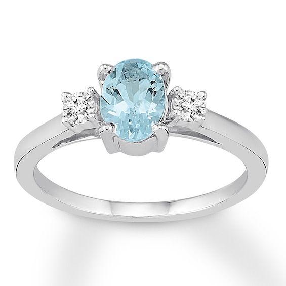 Aquamarine Engagement Ring 1/8 ct tw Diamonds 14K White Gold Jared