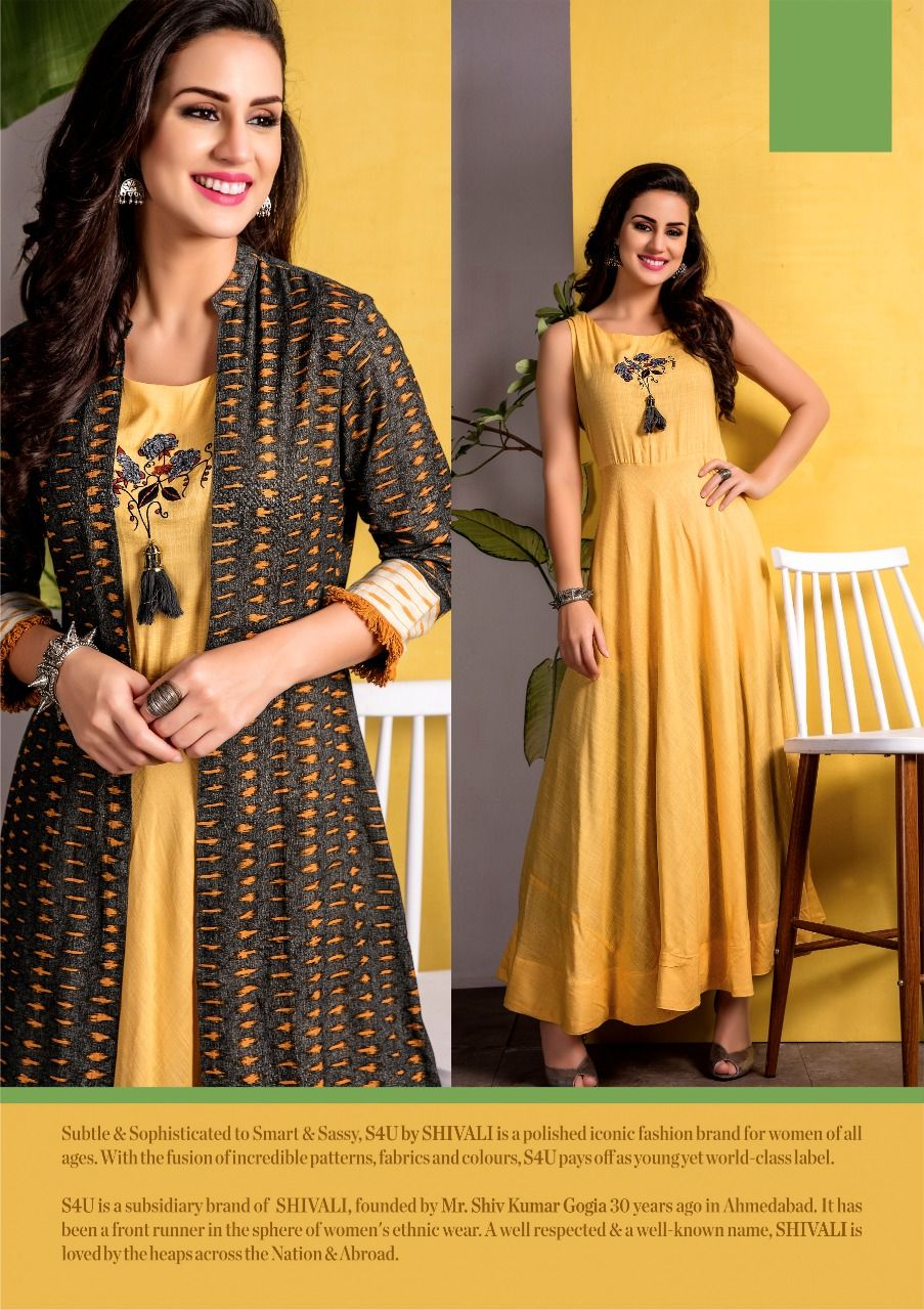 20c75d63b3 S4U Designer Hello Jacket Vol-2 Solid Printed Kurtis | Kurti in 2019 ...