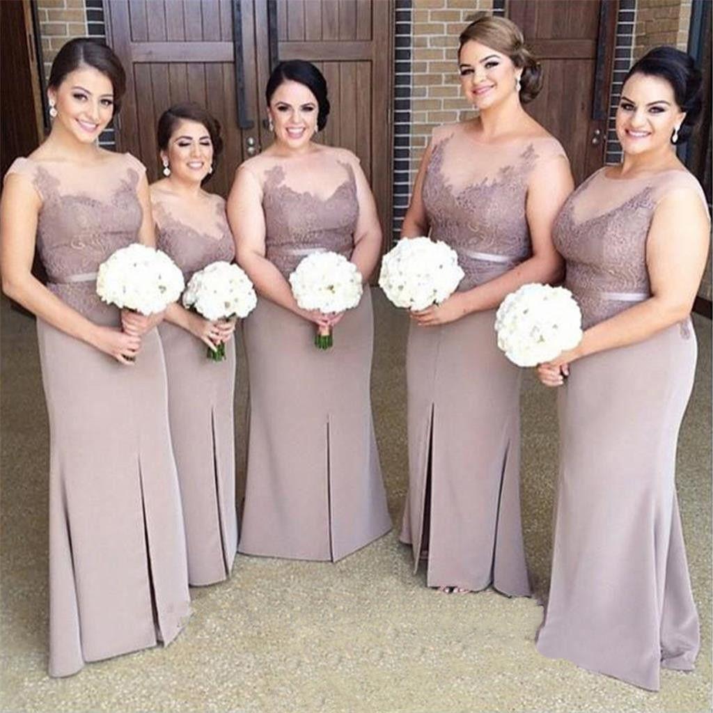 Mother dresses wedding plus size  Brown Long Slit Mermaid Plus Size Lace Modest Bridesmaid Dresses