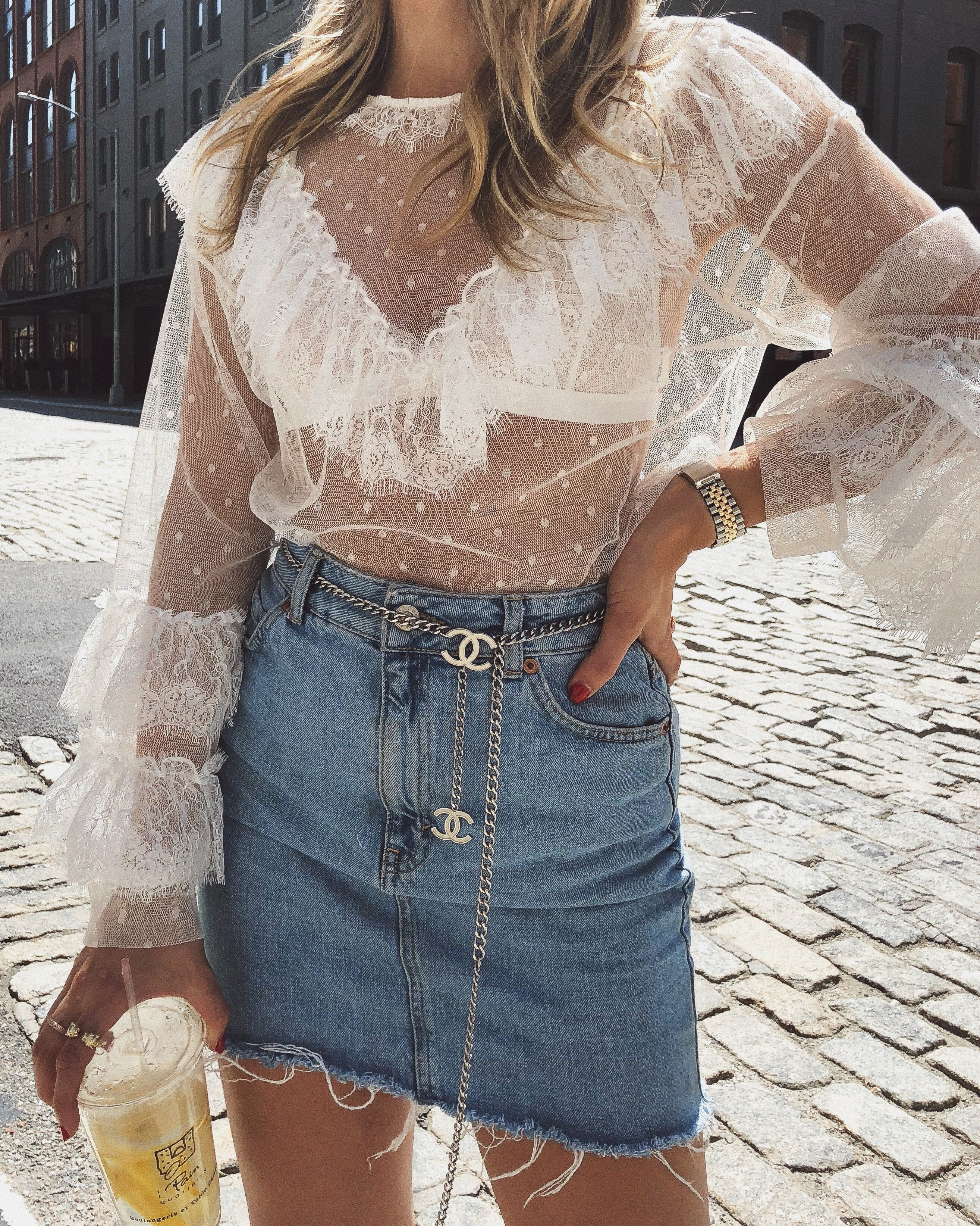 67add4e8d White Lace Top - Denim Skirt - Chain Belt - Chanel Belt - NYC Street Style  - Summer Style Outfit - Summer Outfit Inspo