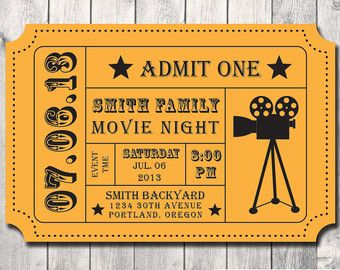 Attractive Movie Night Party Invitation  DIY  Digital File  Printable  Admission Movie  Ticket  Regard To Movie Ticket Invitation Template Free Printable