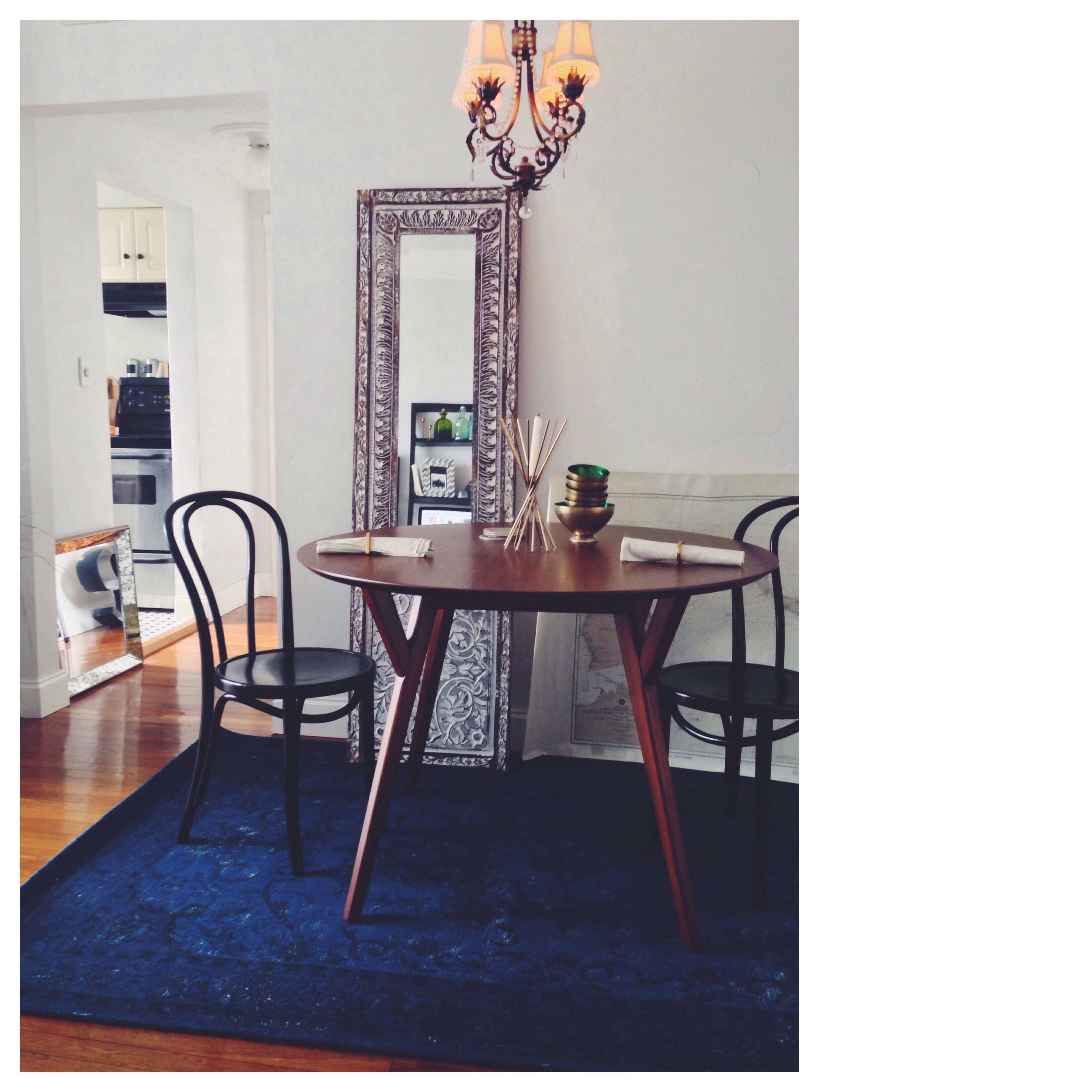 My Current Dining Room Bursa Wool Rug Parker Table Westelm Vienna Chairs Crateandbarrel Mirrors Homegoods Modern Furniture Dining Table Table
