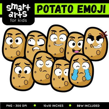 "Potato Emoji Clip Art Check out the BUDGET BUNDLE of this Emoji Clip Arts - Bundle Clip art Link Included in this Product: • 9 Full Colored items • 9 Black and white items • 18 pieces clip art in total • Each clip art saved separately in 1,""x1,"" 3,, dpi PNG files, transparent background *Colors might be slightly different due to different screen color..."