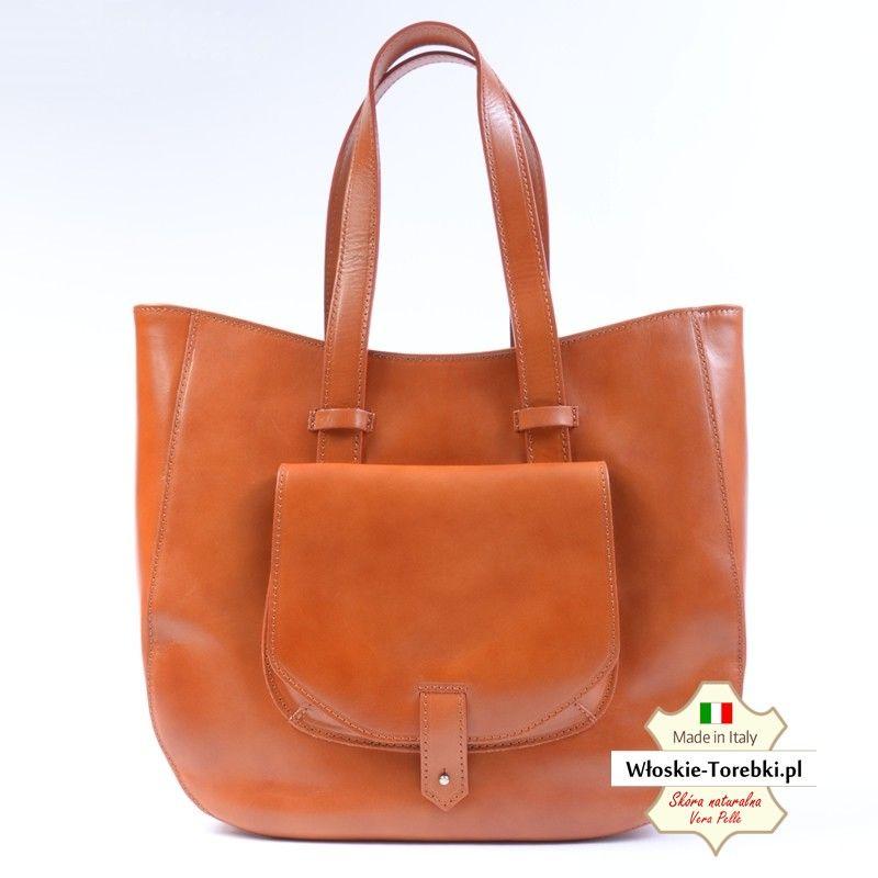 8a0d0efa89a69 Włoska duża torba z naturalnej skóry w kolorze jasny brąz (Camel ...