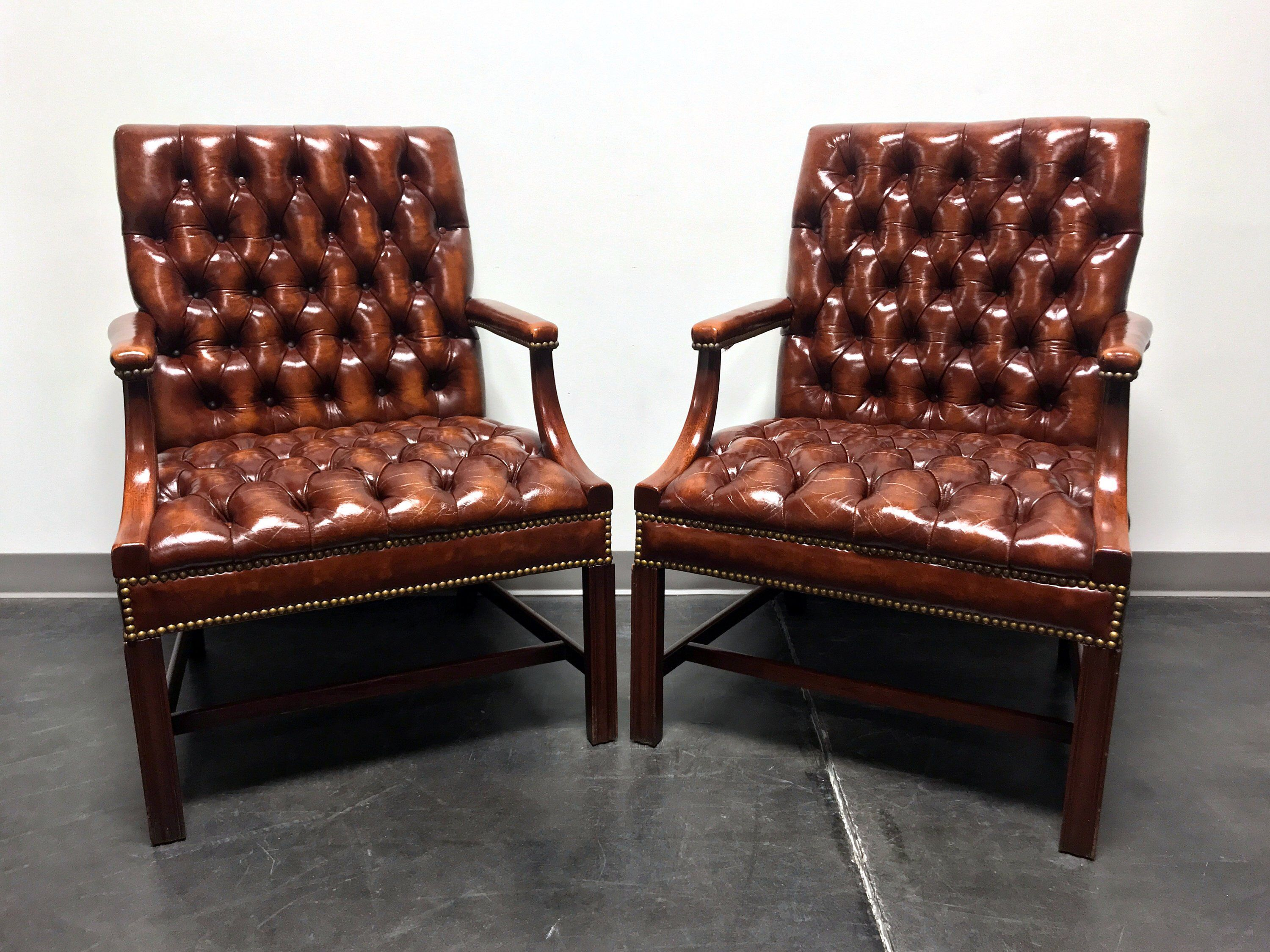 HICKORY CHAIR Leather Tufted Banker Open Arm Chairs with
