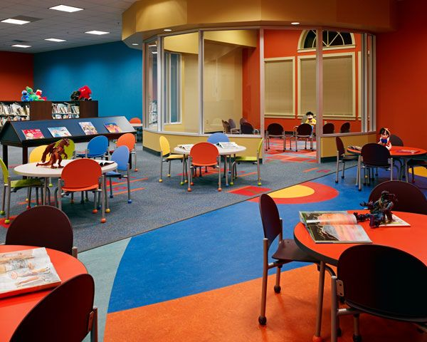 Gilmer Public Library Childrens Area NOt Colours But Idea Of A Presentation Space Or Teaching Projects