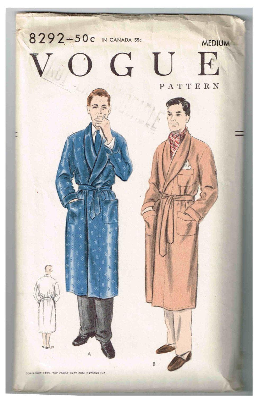 Vintage Vogue #8292, 1955 Sewing Pattern, Men\'s Robe, Bathrobe ...
