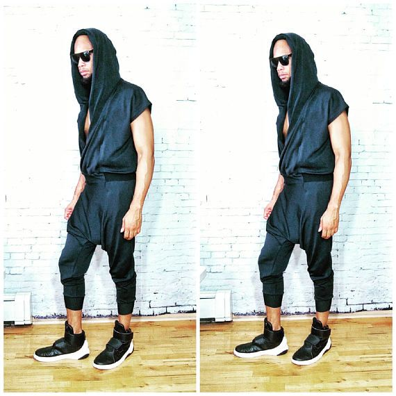 Neoprene Draped Front Drop Crotch Wrap Hoodie JumpSuit Stretch Romper, RompHim, One Piece Black