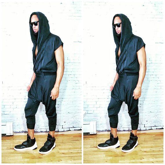 Neoprene Draped Front Drop Crotch Wrap Hoodie JumpSuit Stretch Romper, RompHim, One Piece Black