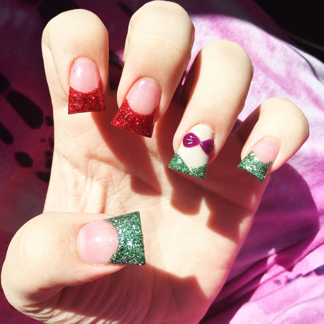 Disney little mermaid inspired nails. French Tip Acrylic manicure ...