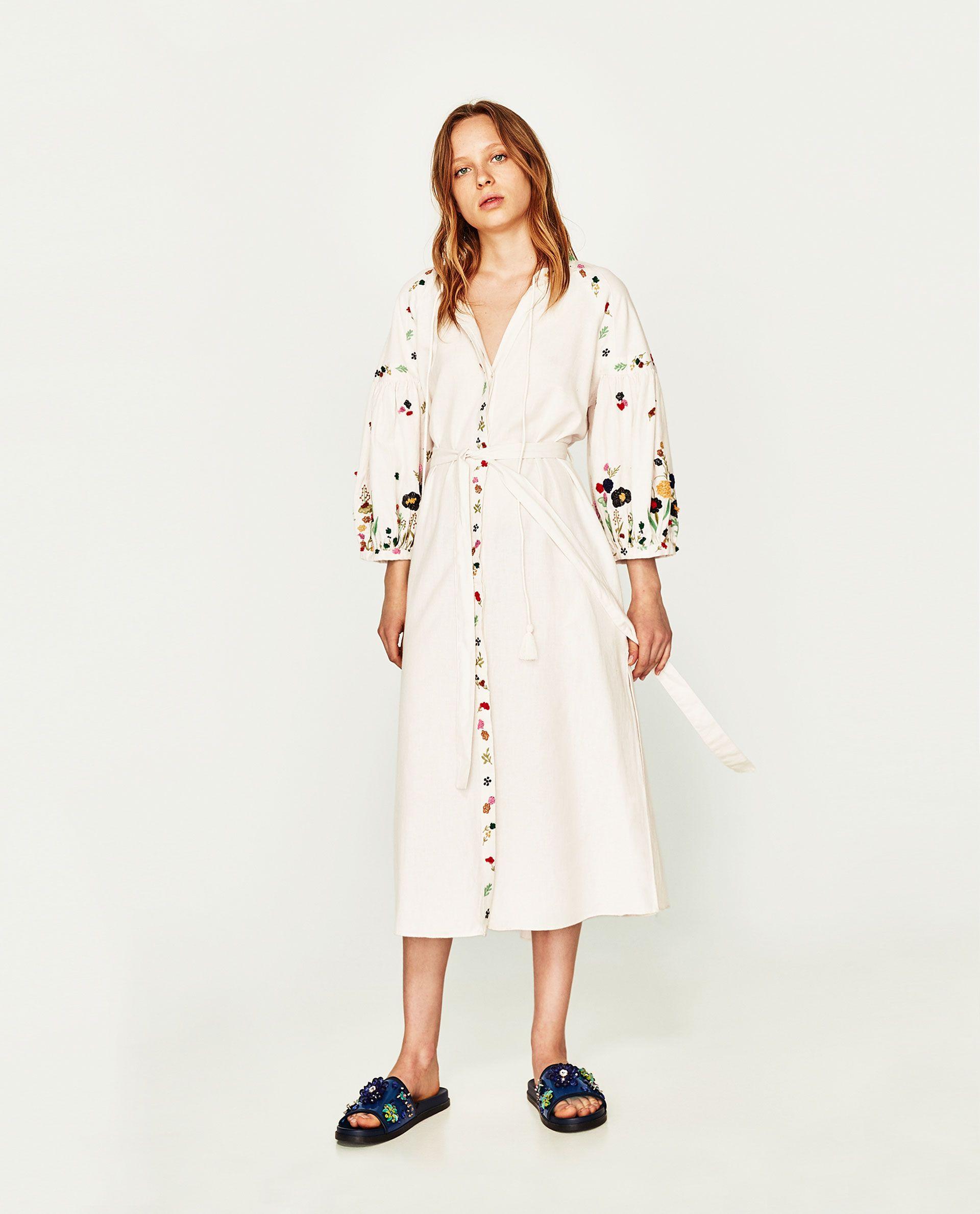 8fc476cf171a3b ZARA - TRF - LONG EMBROIDERED TUNIC ZARA Long Tunic Dress, Shirt Dress,  Embroidered