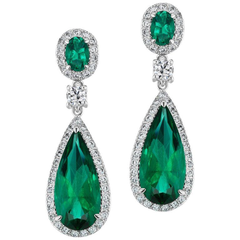 Magnificent Costume Jewelry Emerald Diamond Earrings For