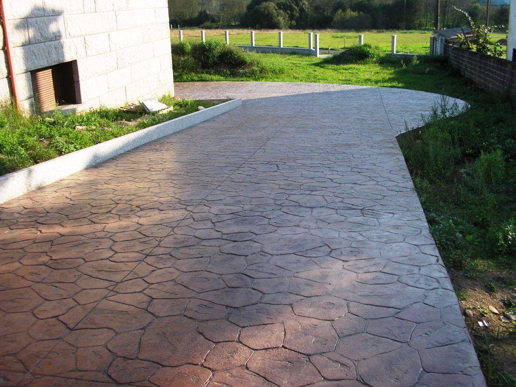 Pavimento de hormig n estampado en textura piedra for Pavimentos de hormigon