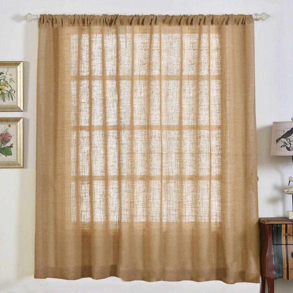 2 Pack 52x84 Eco Friendly Burlap Jute Rustic Home Curtain