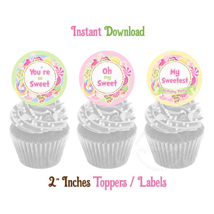 Candyland Toppers, INSTANT DOWNLOAD, Candy Toppers, Sweets Toppers, Candy Label, Candyland Decorations, Sweets Cupcake Topper, Digital File #candylanddecorations