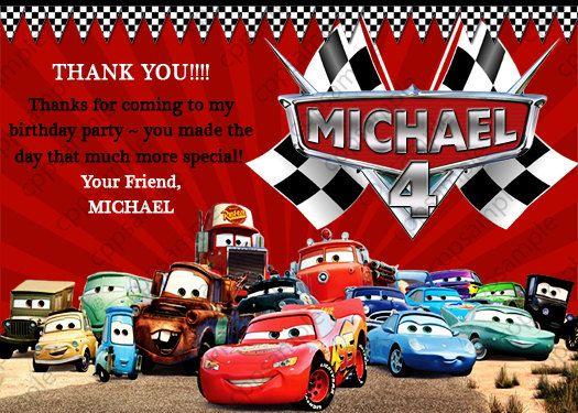 Disney Cars Thank You Card Digital File Disney Cars Birthday Cars Birthday Cars Birthday Invitations
