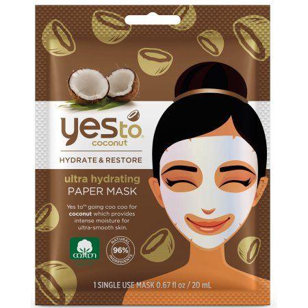 (2 pack) Yes To Coconut Ultra Hydrating Moisturizing Mud Mask, Single Use Face Mask
