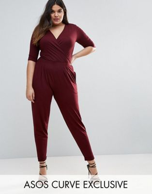 a27d7cb8a5b ASOS CURVE Wrap Jumpsuit with 3 4 Sleeve