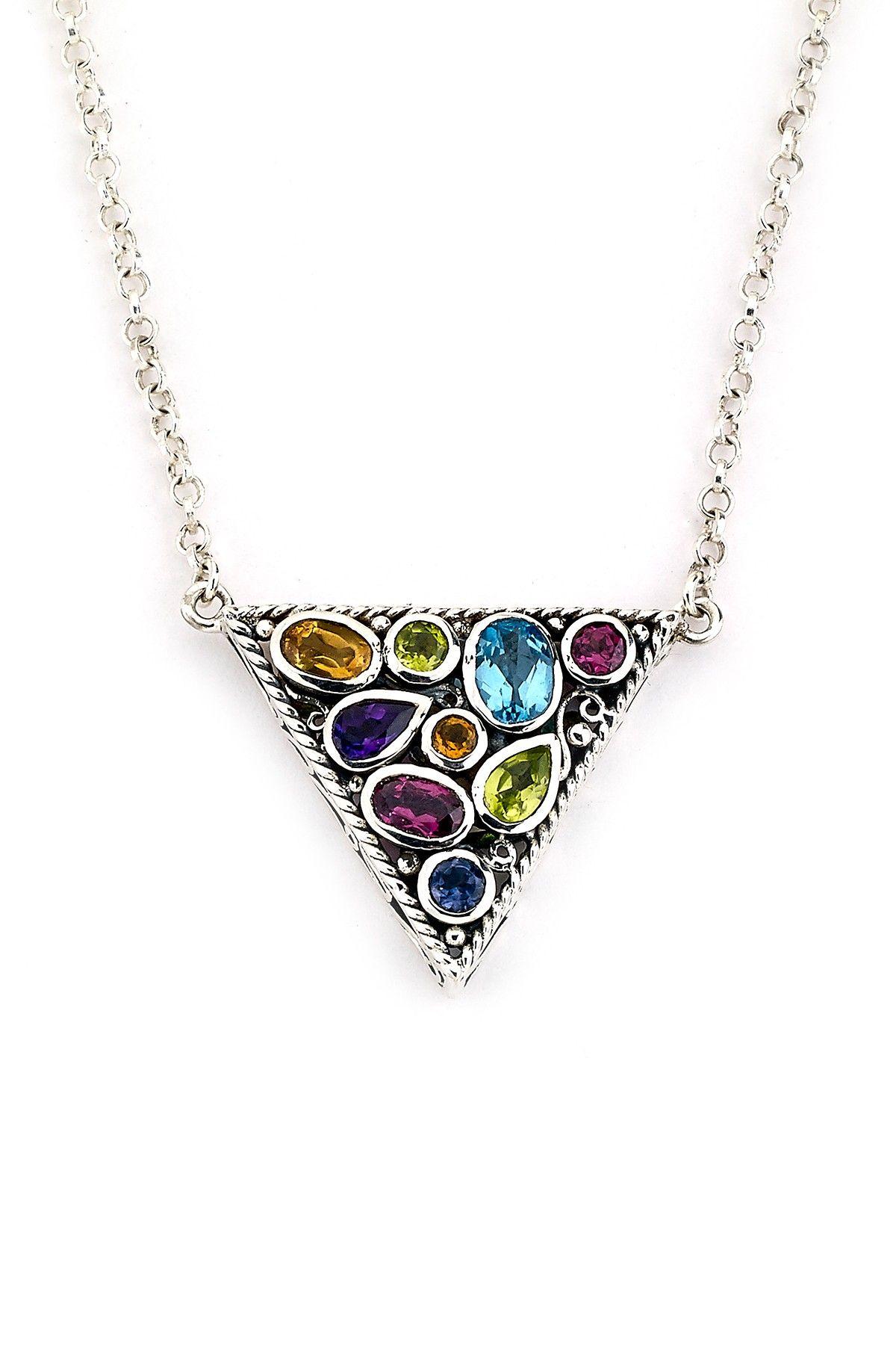 Samuel B Jewelry Sterling Silver Multi Gemstone Triangle Pendant Necklace